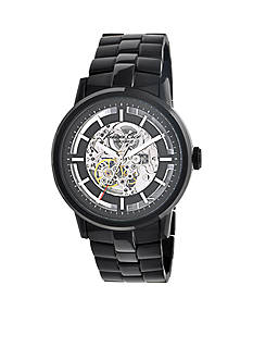 Kenneth Cole Automatic Skeleton Dial Watch with Black Stainless Steel Bracelet