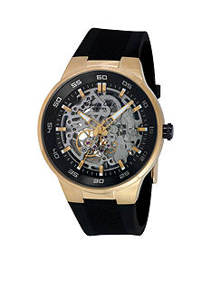 Kenneth Cole Men's Automatic Gold-Tone with Black Silicone Strap Watch