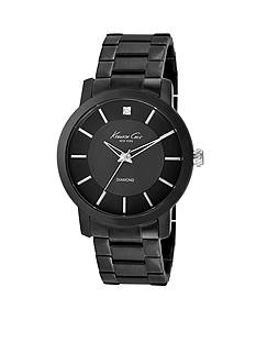 Kenneth Cole Men's Stainless Steel Black Watch With Diamond Marker