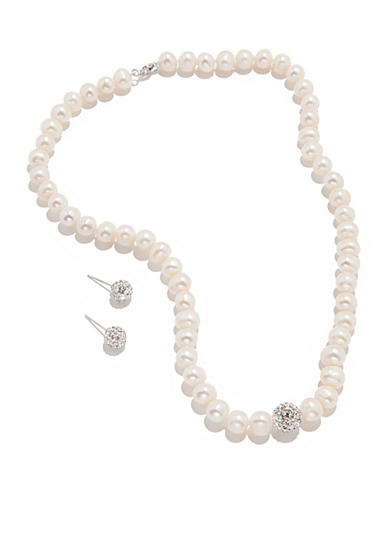 Belk Silverworks Freshwater Pearl and Crystal Necklace and Earring Boxed Set