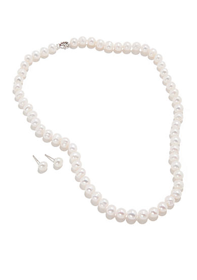 Belk Silverworks Cultured Freshwater Pearl Two Piece Boxed Set