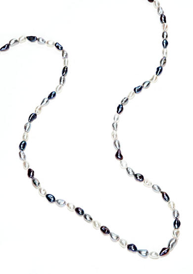 Belk Silverworks White Gray and Peacock Cultured Freshwater Pearl Necklace