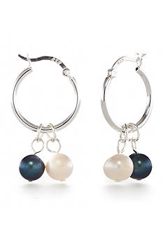 Belk Silverworks Interchanging White and Peacock Hoop Set Earrings