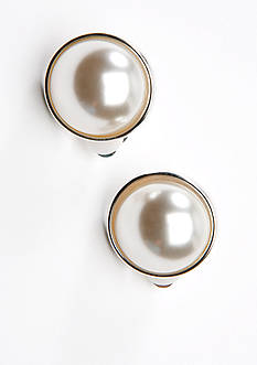 Kim Rogers Pearl Framed Button Clip Earring