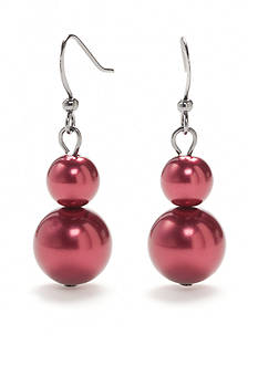Kim Rogers Hematite-Tone Faux Red Pearl Drop Earrings