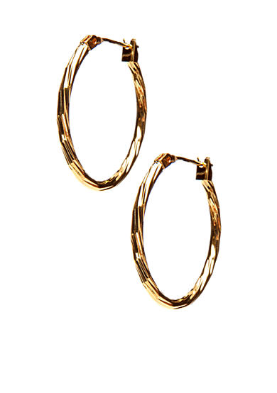 Kim Rogers® Gold Texture 14Kt Gold Filled Post Oval Hoop Earrings