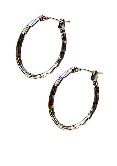 Kim Rogers® Silver Oval Texture 14Kt Gold Filled Post Hoop
