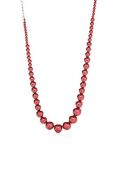 Kim Rogers Hematite-Tone Faux Red Pearl Collar Necklace
