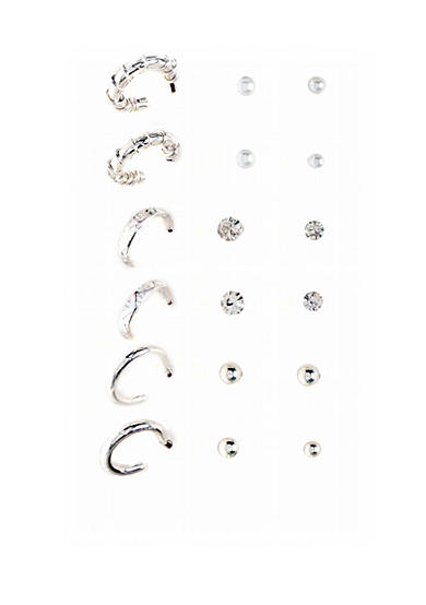 Kim Rogers® Nine Pair Clear/White Pearl/Ball/Hoop Earrings