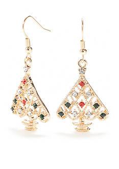 Kim Rogers Gold-Tone Filigree Tree Drop Earrings