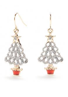 Kim Rogers Gold-Tone Glitter Tree Drop Earrings
