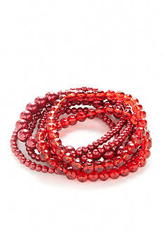 Kim Rogers Red Faux Pearl Stretch Bracelets
