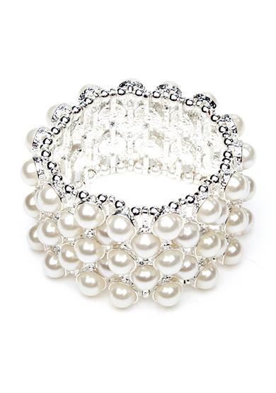 Kim Rogers® White Pearl Wide Stretch Bracelet