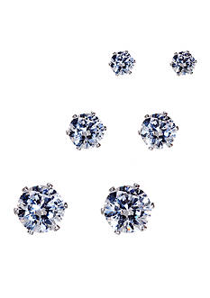 Kim Rogers Silver-Tone 14KT Gold Filled Post Cubic Zirconia Stud Trio Earrings