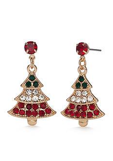 Kim Rogers Gold-Tone Christmas Tree Drop Earrings