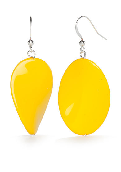 Kim Rogers® Silver-Tone Yellow Lucite Potato Chip Drop Earrings