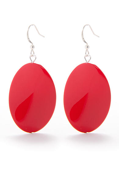 Kim Rogers® Red Thin Wavy Oval French Wire Earring