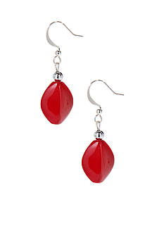 Kim Rogers Red Oval Drop French Wire Earrings