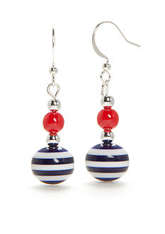 Kim Rogers® Silver-Tone Red, White and Navy Stripe Double Drop Earrings