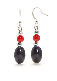 Kim Rogers® Silver-Tone Red and Navy Lucite Drop Earrings