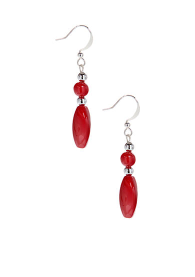 Kim Rogers® Red Round/Oval Drop French Wire Earrings
