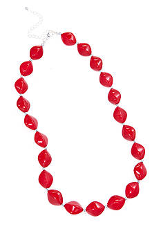 Kim Rogers Red Oval Beads With Silver-Tone Beads Necklace