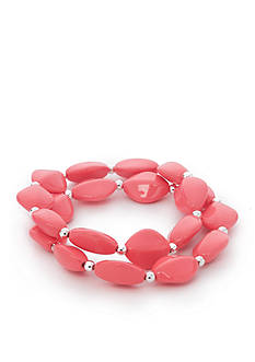 Kim Rogers Silver-Tone Coral Lucite Stretch Bracelet Set