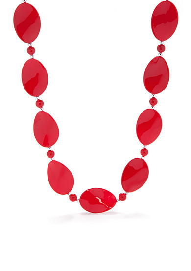 Kim Rogers® Red Thin Wavy Oval Shape Silver-Tone Bead Necklace