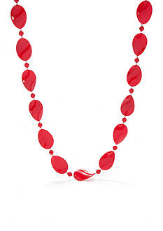 Kim Rogers Red Thin Wavy Oval Silver-Tone Bead Necklace
