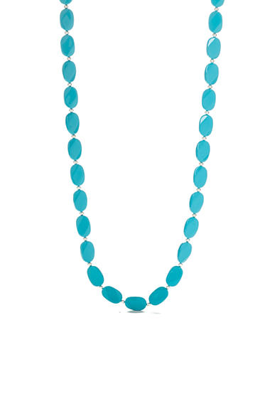 Kim Rogers® Silver-Tone Turquoise Lucite Necklace