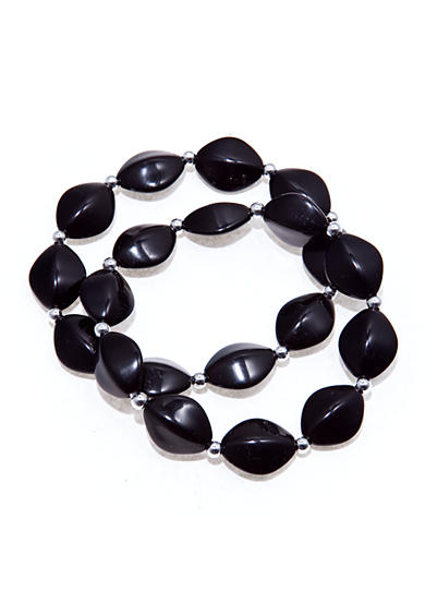 Kim Rogers® Black Oval Beads with Silver Spacers Stretch Bracelets - Set of 2