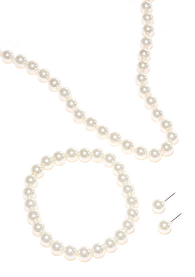 Kim Rogers® 3-Piece White Pearl Necklace, Bracelet and Earrings Set