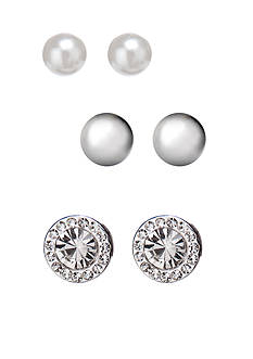 Kim Rogers White Pearl, Silver-Tone Ball, and Clear Studs Trio Earring Set