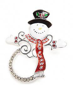 Kim Rogers Silver-Tone Enameled Snowman Pin