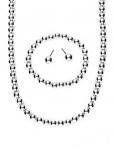 Kim Rogers Silver-Tone Bead Necklace, Bracelet and Stud Earring Set