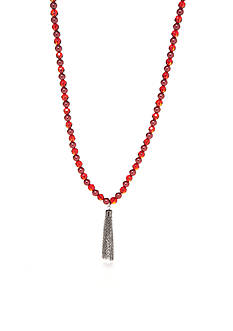 Kim Rogers Hematite-Tone Faux Red Pearl Strand Necklace