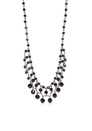 Kim Rogers® Hematite-Tone Jet Faceted Bead Necklace