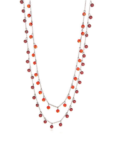 Kim Rogers® Hematite-Tone Faux Red Pearl Multistrand Necklace