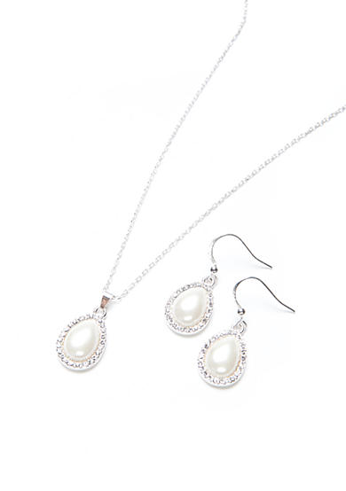 Kim Rogers® Silver-Tone Teardrop Necklace and Earrings Boxed Set