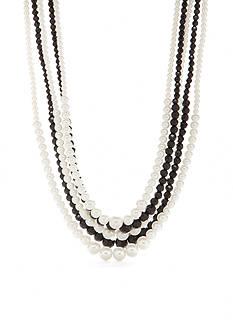 Kim Rogers Silver-Tone Jet Pearl Multi Strand Necklace