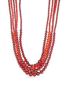 Kim Rogers Hematite-Tone Faux Red Pearl Multistrand Necklace
