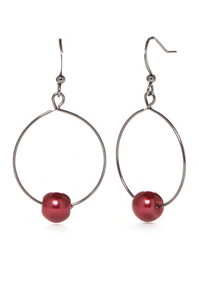 Kim Rogers® Hematite-Tone Faux Red Pearl Drop Circle Earrings