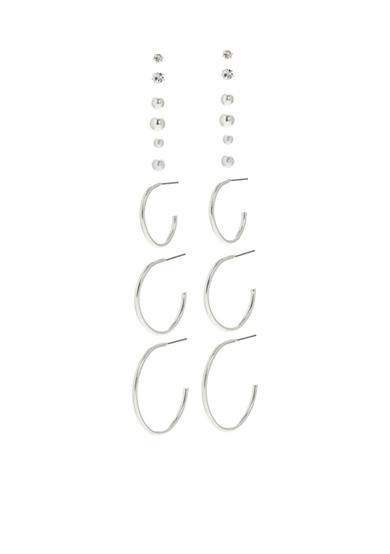 Kim Rogers® Silver-Tone 9 Pair Stud and Hoop Earrings Set