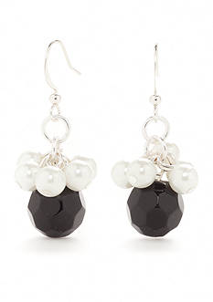 Kim Rogers Silver-Tone Faceted Jet Glass Pearl Shaky Drop Earrings