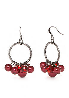 Kim Rogers® Hematite-Tone Faux Red Pearl Chandelier Earrings
