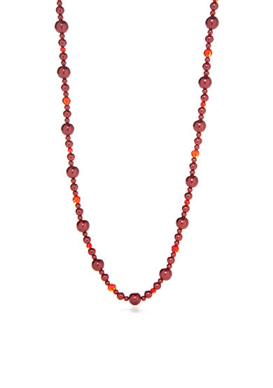 Kim Rogers® Hematite-Tone Faux Red Pearl Strand Necklace