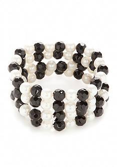 Kim Rogers Silver-Tone Jet Pearl 4 Strand Bracelet
