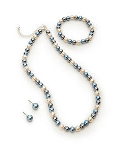 Kim Rogers® Blue Glass Pearl Necklace, Bracelet and Earring Set