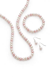 Kim Rogers® Silver-Tone Pink Pearl Necklace, Bracelet and Earring Set
