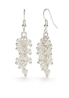 Kim Rogers Silver-Tone White Glass Pearl Cluster Drop Earrings